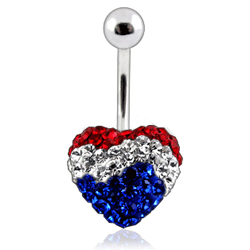 Bauchnabelpiercing Herz mit Crystalsteinen